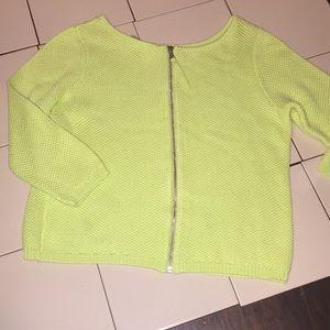 Per Se Neon Green zipper back sweater EUC  (S)